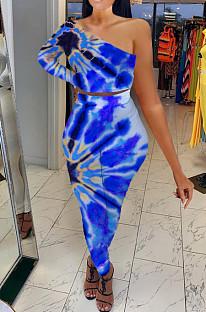 Blue Contrast Color Oblique Shoulder One Sleeve Long Skirts Sets YMT6214-2