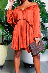 Orange Chiffon Pure Color A Word Shoulder Long Sleeve Loose Waist Casual Dress JL19184-4