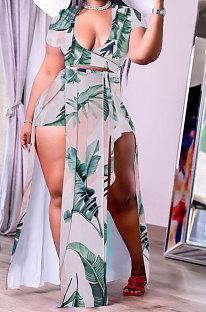 Green Leaves Trendy Women Sexy Split WaistStrap Deep V Neck Club Plus Shorts Sets K2116-4