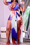 Red Blue Trendy Women Sexy Split WaistStrap Deep V Neck Club Plus Shorts Sets K2116-2