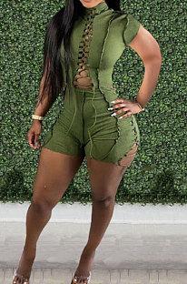 Green Women Bandage Short Sleeve Hollow Out Romper Shorts LD81019-1