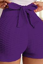 Purple Yoga Tight Back Bowknot HipRaising Shorts XHP0268-3