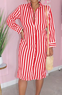 Red Summer Lapel Neck Button Stripe Loose Stripe Shirt Dress KY3088-1