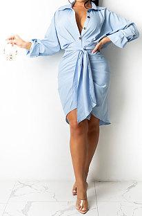 Light Blue Women Fashion Casual Button Tied T Shirt/Shirt Dress YBS86726-3