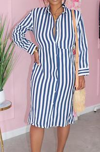 Blue Summer Lapel Neck Button Stripe Loose Stripe Shirt Dress KY3088-2