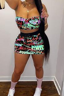 Neon Green Digital Letter Print Strapless Drawstring Backless Short Skirts Sets SZS8050-1