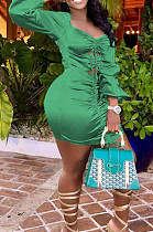 Grass Green Glossy Low-Cut Bandage Lantern sleeve Hollow Out Tight Hip Dress LM88812-1
