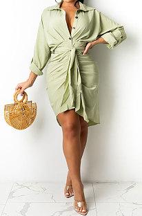 Green Women Fashion Casual Button Tied T Shirt/Shirt Dress YBS86726-2