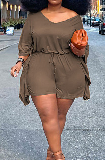 Brown Plus Size Pure Color Off Shoulder Horn Sleeve Drawstring Shorts Two Piece ZQ8098-5