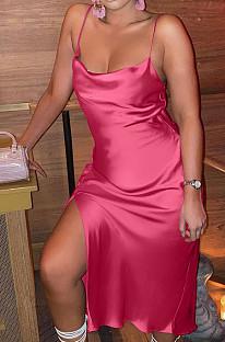 Rose Red Glossy Condole Belt Adjust Low Cut Slit Dress LML256-1