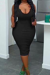 Black Plus Size Low Cut Sexy Slim Fitting Pure Color Tank Dress S6298-1