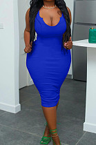 Blue Plus Size Low Cut Sexy Slim Fitting Pure Color Tank Dress S6298-3