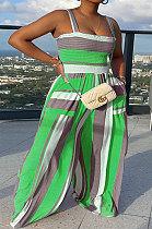 Green Women Smocking Stitch Printing High Waist Wide Leg Jumpsuits HXY88072-4