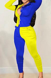 Blue Spliced Yellow Lapel Neck Long Sleeve Button Shirt Long Pnats Casual Sets OEP6302-3