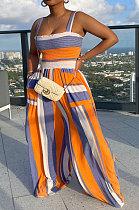 Orange Blue Women Pocket Printing Smocking Stitch Condole Belt Wide Leg Jumpsuits HXY88072-1