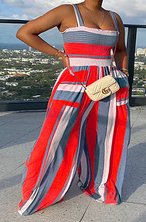 Red Wholesale Ladies Pocket Printing Smocking Stitch Wide Leg Jumpsuits HXY88072-3