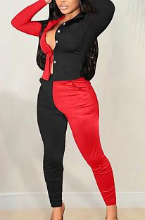 Red Spliced Black Lapel Neck Long Sleeve Button Shirt Long Pnats Casual Sets OEP6302-2