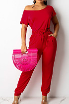 Red Oblique Shoulder Short Sleeve WaistStrap Pure Color Wide Leg Jumpsuits OH8086-1