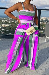 Purple Women Multicolor Printing Smocking Stitch Condole Belt Wide Leg Jumpsuits HXY88072-6