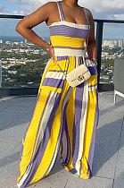Yellow High Waist Smocking Stitch Multicolor Print Wide Leg Jumpsuits HXY88072-2