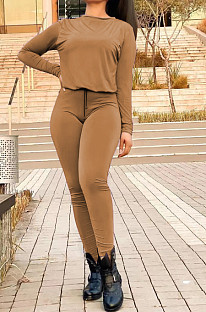 Coffee Fall Winter Pure Color Round Neck Long Sleeve Drawstrint Long Pants Sport Sets TD80058-2