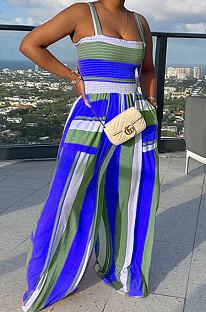 Blue Women Pocket Printing Smocking Stitch Condole Belt Wide Leg Jumpsuits HXY88072-5