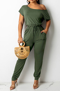 Army Green Oblique Shoulder Short Sleeve WaistStrap Pure Color Wide Leg Jumpsuits OH8086-2