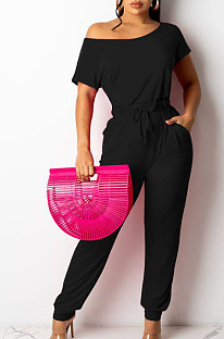Black Oblique Shoulder Short Sleeve WaistStrap Pure Color Wide Leg Jumpsuits OH8086-3