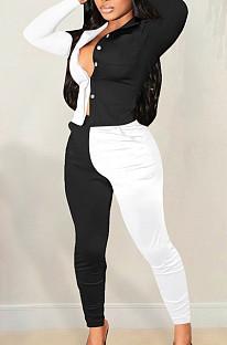Black Spliced  White Lapel Neck Long Sleeve Button Shirt Long Pnats Casual Sets OEP6302-1