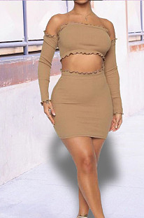 Camel Tight Pure Color Strapless Long Sleeve Crop Top Slim Fitting Short Skirt Sets HY5236-2