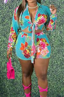 Light Blue Plus Size Print Lapel Neck Bandage Top Mid Waist Shorts Two Piece DN8626-1