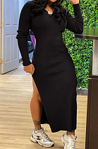 Black Casual Hoodie Long Sleeve Backless Broadside Slit Pure Color Ridder T Shirt Long Dress KY3089-1