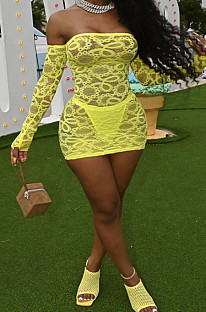 Yellow Perspective Mesh Sexy Strapless Long Sleeve Bodycon Mini Dress DN8625-2