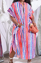Colorful Print Colour Bar Loose Pocket Round Neck Single Breasted Shirt Dress NRS8076-1