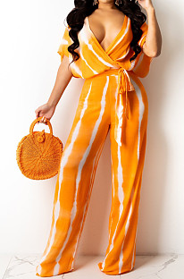 Yellow Stripe Tie Dye Print Sleeveless Loose V Neck Bandage Wide Leg Pants Two Piece LML258-1