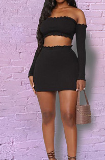 Black Tight Pure Color Strapless Long Sleeve Crop Top Slim Fitting Short Skirt Sets HY5236-1