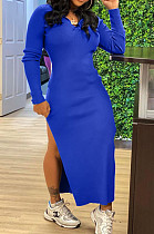 Blue Hoodie Long Sleeve Backless Broadside Slit Pure Color Ridder T Shirt Long Dress KY3089-2