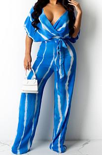 Blue Stripe Tie Dye Print Sleeveless Loose V Neck Bandage Wide Leg Pants Two Piece LML258-3