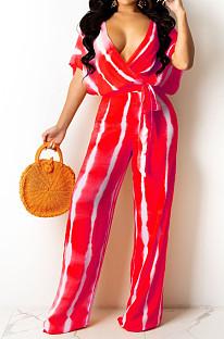 Red Stripe Tie Dye Print Sleeveless Loose V Neck Bandage Wide Leg Pants Two Piece LML258-2