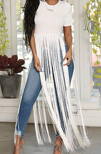 White Cute Pure Color Round Neck Long Tassel Short Sleeve T Shirts OLY6064-1