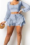 Cream White Low Cut Long Sleeve Crop Top Cute Mid Waist Ruffle Shorts Two-Piece MTY6566-2