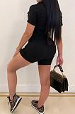 Black Casual Lapel Neck Short Sleeve Single-Breasted Romper Shorts SN390171-1