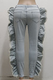 Light Blue Personality Water Washiong Hole Elastic Ruffle Jean Carrot Pants SMR2539