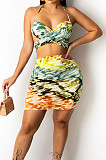 Red Sexy Strapless Halter Neck Backless Tank Short Skirts Two Piece SZS8089-1
