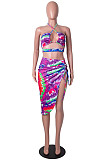 Peacock Blue Positioning Print Halter Neck Strapless Drawsting Irregularity Skirts Two Piece SZS8065-4