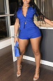 Royal Blue Pure Color Linen Lapel Neck Single-Breasted Short Sleeve Shirt Shorts Two-Piece LML252-2