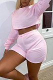 Pink Autumn Pure Color Round Neck Long Sleeve Dew Waist T Shirt Shorts Two Piece SM9196-1