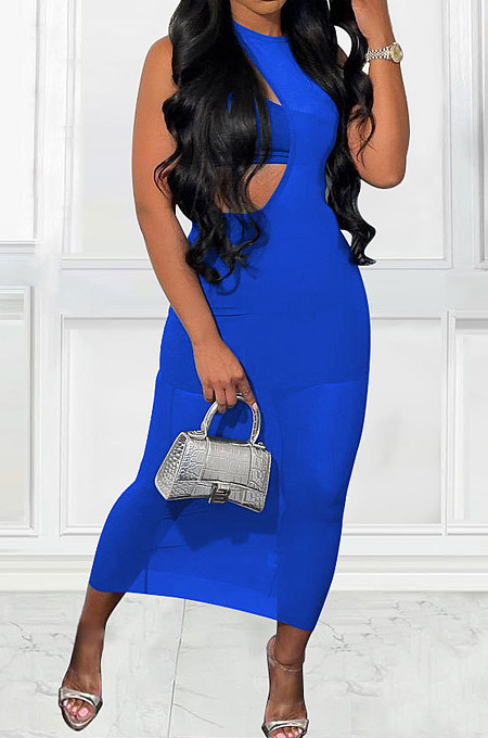 Blue Sexy Perspective Sleeveless Round Collar Strapless Long Dress Three-Piece MTY6561-3