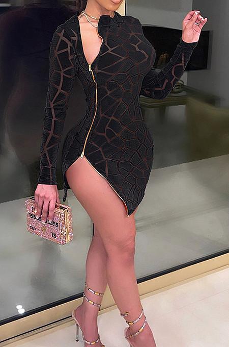 Black Hollow Ourt Flocking Bouble Zipper Long Sleeve Sexy Mini Dress SN3910161-1