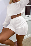 White Autumn Pure Color Round Neck Long Sleeve Dew Waist T Shirt Shorts Two Piece SM9196-2